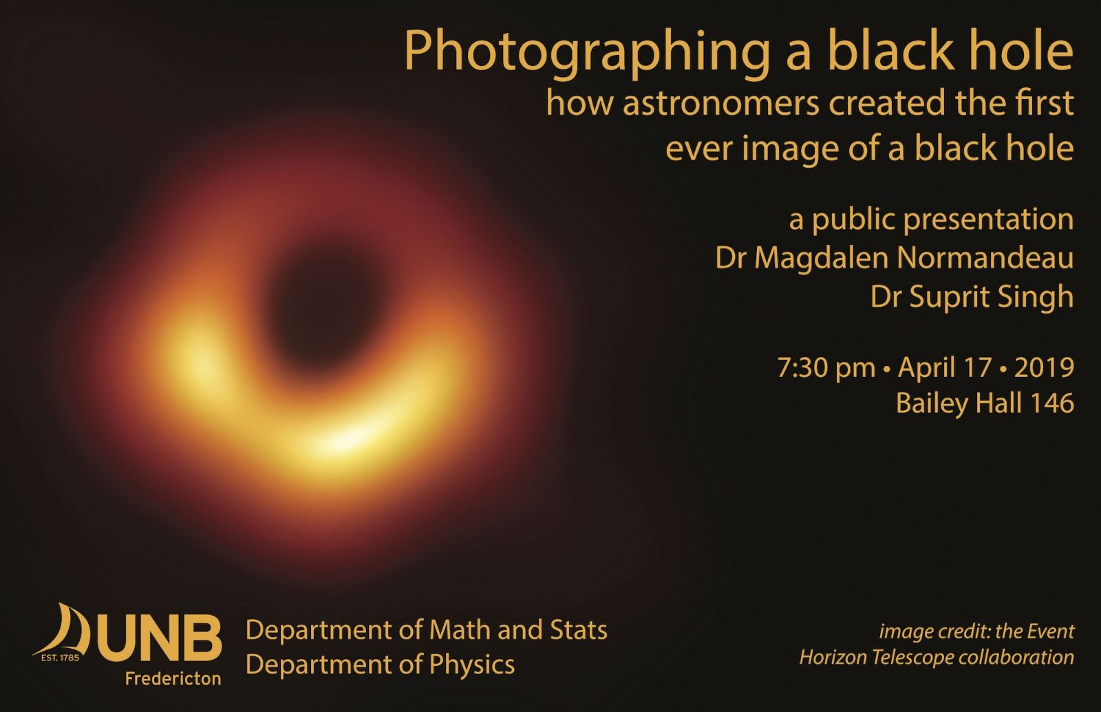 Black Hole imaging - Physics and Math Collaboration - Bailey Hall rm 146 April 17 at 730pm
